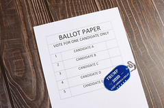 Ballot paper with blue military tag with Trump 2020 text