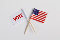 American flag and white flag with vote text on white background