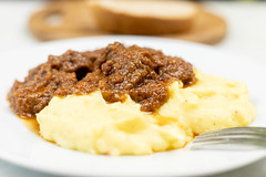 Beef Stew served with Mashed Potatoes on the plate