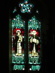 North Adelaide. St Laurence's Catholic Church built in 1868. This stained glass window in the sanctuary was installed in 1910.