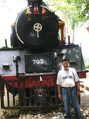 A selfie by the Japan built steam engine plinthed at Saiyok Noi waterfall