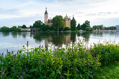 View of a Schwerin castle with its reflection in the lake from nearby park