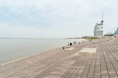Embarkment and sail like building overlooking the North Sea in Bremerhaven