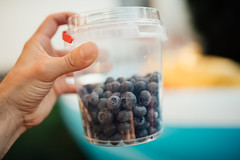 Man holding a bucket of blueberries