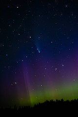 Comet NEOWISE w Colourful Northern Lights, Bindo Lake, Canada