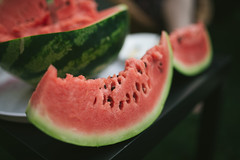 A slice of watermelon on the table