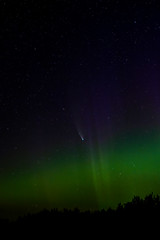 Comet NEOWISE with Northern Lights, Bindo Lake, Canada