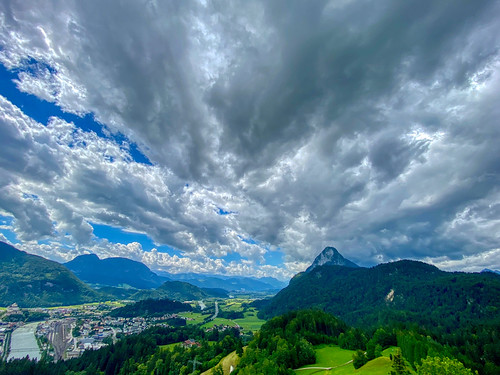 River Inn valley with Kufstein and Pendling mountain seen from Thierberg mountain in Tyrol, Austria