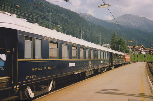 3rd August 1992. 1044 071-7 with the Orient Express at St. Anton am Arlberg, Austria