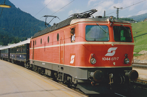 3rd August 1992.  1044 071-7 with the Orient Express at St. Anton am Arlberg, Austria.