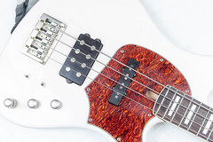 White Bass Guitar body with red decoration