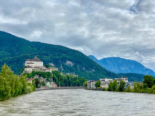 River Inn passing through Kufstein with Fortress in Tyrol, Austria