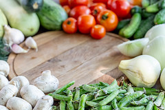 Background of fresh ripe vegetables. The concept of healthy nutrition