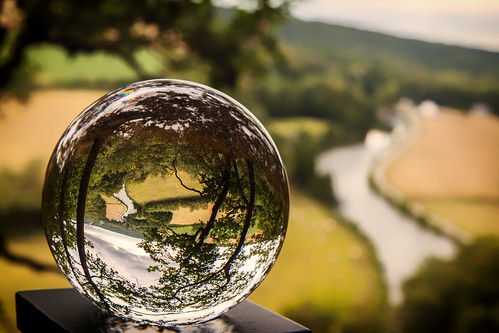 Lensball with view on the Sambre valley, Wallonia, Belgium