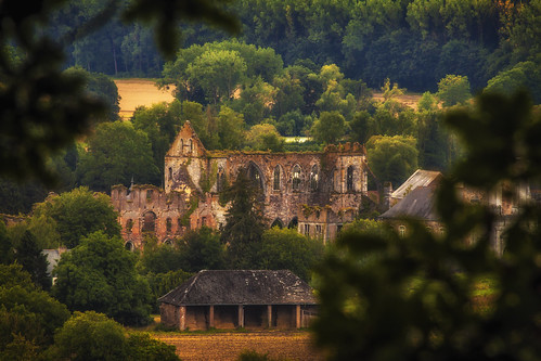 View before the rain on the Sambre valley and Aulne Abbey, Wallonia, Belgium