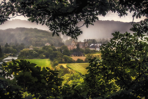 View on the Sambre valley and Aulne Abbey, Wallonia, Belgium