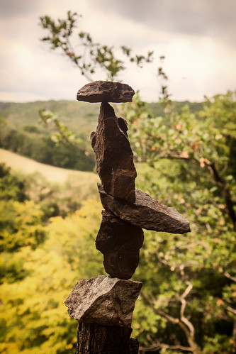 Rock stacking with view on the Sambre valley
