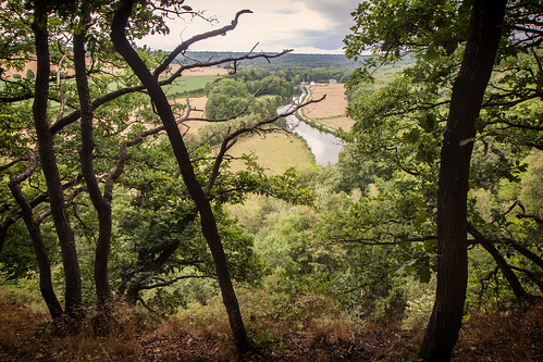 View before the rain on the Sambre valley, Wallonia, Belgium