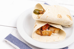 Tortillas with fried Chicken Meat and Vegetables