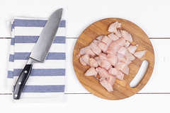 Top view of Sliced Chicken Breasts on the wooden board