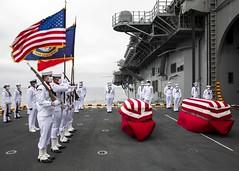 USS Makin Island (LHD 8) conducts a burial at sea.