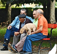 Portuguese retired people in theirs usual meeting point