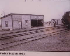 Farina in the Flinders Ranges. The town was established in 1879. It was a ghost town by 1967. This is the old railway station in 1958.