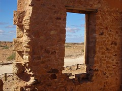 Farina ghost town of the Flinders Ranges. View from the ruins of the stone Exchange Hotel which had the general store next Hotel. Built  1879. Being covered in sand in 1936 and closed 1937.. .