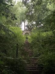 Steps and gate to Dumbarton Oaks gardens, from Dumbarton Oaks Park, Washington, D.C.