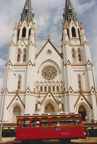 21st August 1995. The Cathedral of St. John the Baptist and Trolley No. 4. Savannah, Georgia. USA