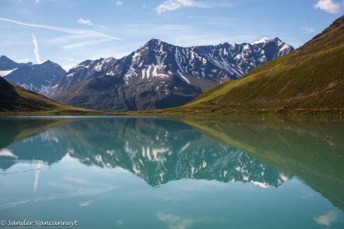 Riffelsee mountain reflection in the lake