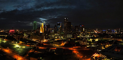 Wide night shot, Dallas.