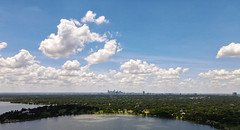 Dallas viewed from above White Rock Lake.  Sea of Trees.