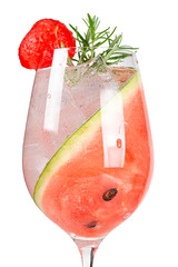 Watermelon summer cocktail with ice and rosemary
