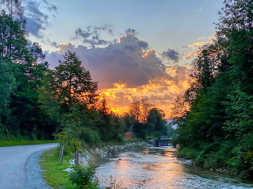 Kieferbach creek in the morning in Breitenau near Kiefersfelden in Bavaria, Germany