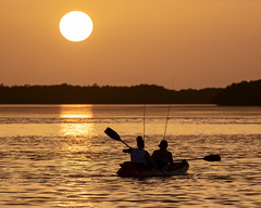 Two Ladies Kayaking into a Fort DeSoto Sunset 8-1-2020