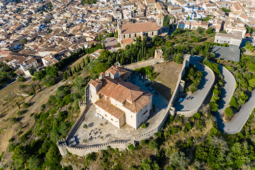 Sanctuary of Sant Salvador and parish church of the Transfiguration of the Lord in Artà, aerial view