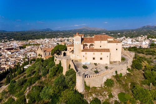 The medieval fortress on the Puig de Sant Salvador hill in Artà. Drone image of Sant Salvador sanctuary