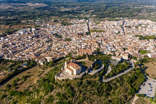 Drone pic. Puig de Sant Salvador, Artà, Mallorca: the hill on whose top the Santuari de Sant Salvador rests