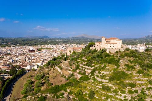 Aerial view of Puig de Sant Salvador, Artà, Mallorca. The fortress and sanctuary of Sant Salvador