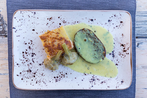 Steak au poivre with gratin dauphinois, top view. At Villa Vegana restaurant, Selva, Mallorca
