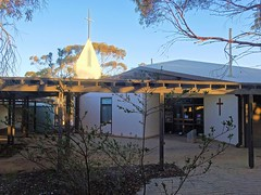 Leigh Creek in the Flinders Ranges. Afternoon light on the cross of the town's community church built in 1982.