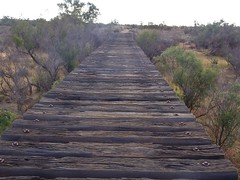 Farina ghost town in the Flinders Ranges. This is the old railway bridge across the creek. The Great Northern Railway to Farina reached here in 1882.