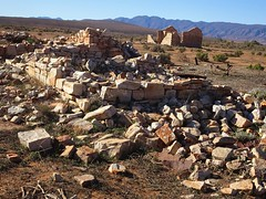 Wonoka in the Flinders Ranges. All that remains of  this ghost town established in 1880. These were probably the ruins of the hotel or general store with a house beyond.