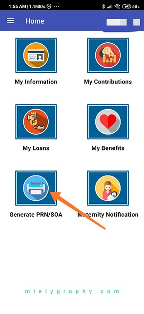 Generate PRN on SSS Mobile