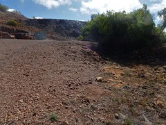 Blinman and old copper mining town of the Flinders Ranges.  Here is some overburden from the old 1862 copper mine and the mine entrance on the left.