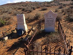 Wonoka in th Flinders Ranges. Town established in 1880 but now a ghost town. Graves and headstones in the Wonoka cemetery in a sandhill a kilometre away from the town site.