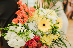 Colorful Bouquet With Yellow Gerber With Roses