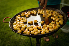 Grilled Potatoes On The Pan Outdoors