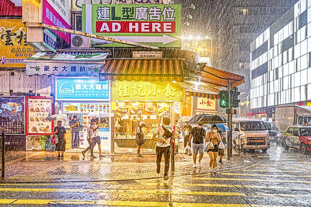 Rainy night at Monk Kok, Hong Kong